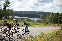 A small group rides near the top of the second categorised climb of Stage 3 of the Ladies Tour of Norway - a 156.6 km road race, between Svinesund (SE) and Halden on August 20, 2017, in Ostfold, Norway. (Photo by Balint Hamvas/Velofocus.com)