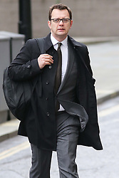 Andy Coulson arriving at the Phone hacking trial at the Old Bailey in London, Tuesday, 25th February 2014. Picture by Stephen Lock / i-Images