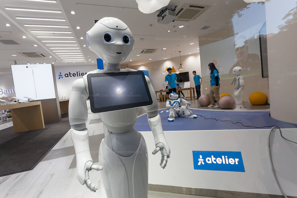 Pepper robot and Nao robot at the SoftBank store in Omotesando, Tokyo, Japan. Friday October 24th 2014