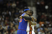 Feb 4, 2010; Cleveland, OH, USA; Cleveland Cavaliers forward LeBron James (23) and Miami Heat guard Dwyane Wade (3) do an man hug before the start of the game at Quicken Loans Arena. Mandatory Credit: Jason Miller-US PRESSWIRE