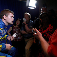 Driver Ricky Stenhouse Jr. speaks with the media about him dating NASCAR driver Danica Patrick,  during the NASCAR Media Day event at Daytona International Speedway on Thursday, February 14, 2013 in Daytona Beach, Florida.  (AP Photo/Alex Menendez)
