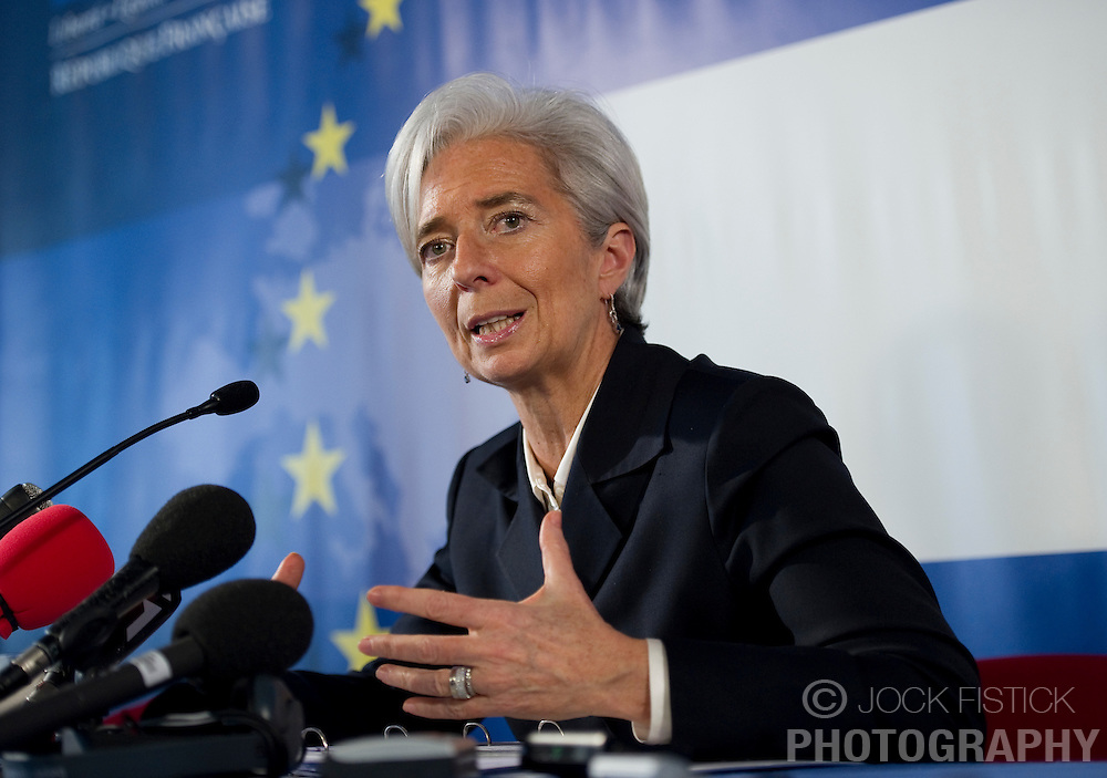Christine Lagarde, France's finance minister, holds a press briefing at the European Council headquarters in Brussels, Belgium, on Thursday, March 18, 2010. (Photo © Jock Fistick)