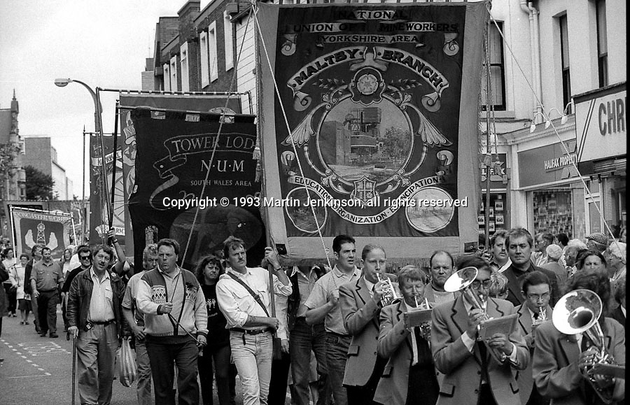Maltby Branch and Tower Lodge banners. 1993 Yorkshire Miner's Gala. Wakefield.