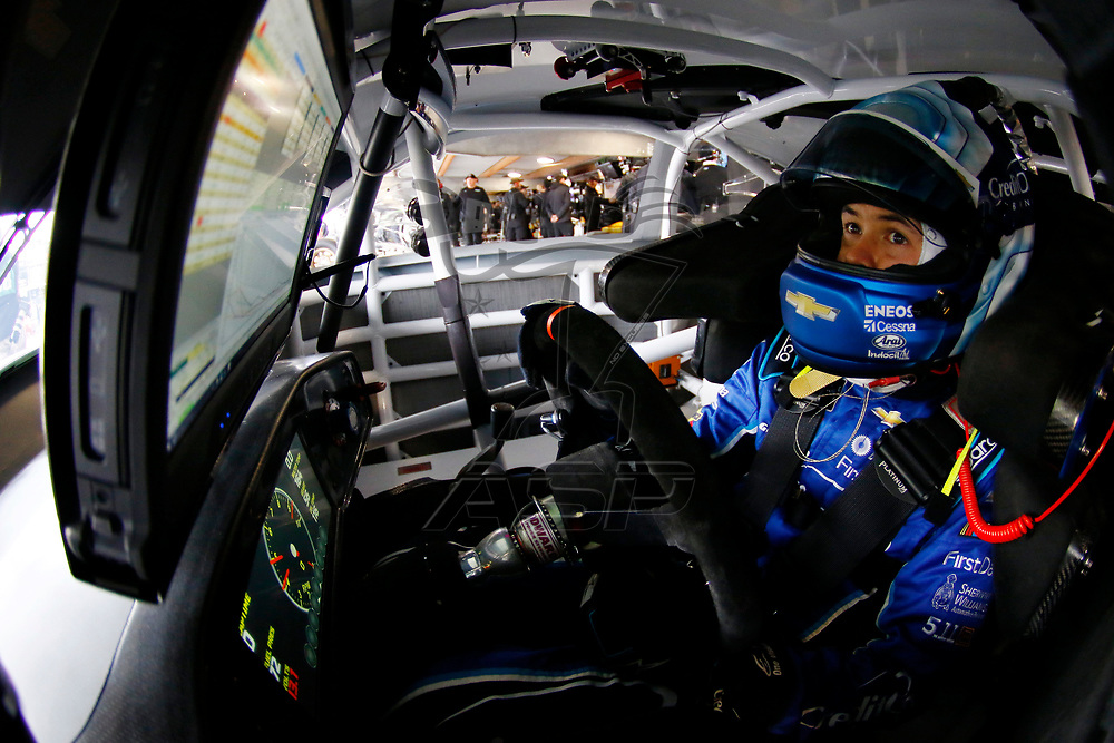 March 24, 2018 - Martinsville, Virginia, USA: Kyle Larson (42) straps into his car to practice for the STP 500 at Martinsville Speedway in Martinsville, Virginia.