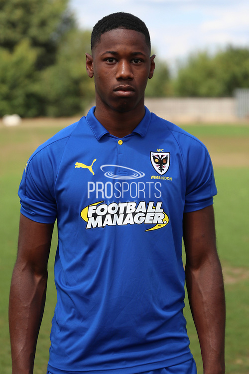 AFC Wimbledon midfielder Osaze Urhoghide (37) during the AFC Wimbledon 2018/19 official photocall at the Kings Sports Ground, New Malden, United Kingdom on 31 July 2018. Picture by Matthew Redman.