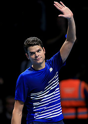 Canada's Milos Raonic celebrates victory against Austria's Dominic Thiem during day five of the Barclays ATP World Tour Finals at The O2, London.