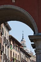 street scenes in plaza mayor in madrid, spain