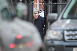 © Licensed to London News Pictures. 30/01/2018. London, UK. Prime Minister Theresa May leaves Downing Street by the back door to travel to China on a three day trade and diplomatic visit.  Photo credit: Peter Macdiarmid/LNP