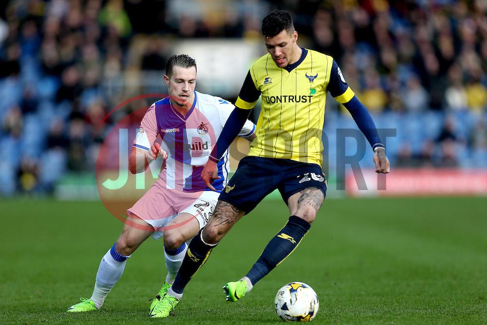 Billy Bodin of Bristol Rovers puts Marvin Johnson of Oxford United under pressure - Mandatory by-line: Robbie Stephenson/JMP - 04/03/2017 - FOOTBALL - Kassam Stadium - Oxford, England - Oxford United v Bristol Rovers - Sky Bet League One