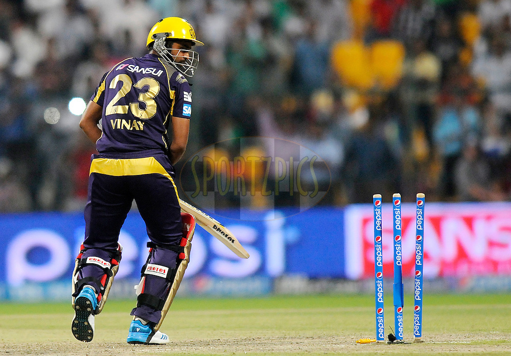 James Faulkner of the Rajatshan Royals gets Vinay Kumar of the Kolkata Knight Riders  bowled out during match 19 of the Pepsi Indian Premier League 2014 Season between The Kolkata Knight Riders and the Rajasthan Royals held at the Sheikh Zayed Stadium, Abu Dhabi, United Arab Emirates on the 29th April 2014<br /> <br /> Photo by Pal Pillai / IPL / SPORTZPICS