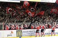 24.4.2013, Isometsän jäähalli, Pori..Jääkiekon SM-liiga 2012-13. Playoffsit, 6. loppuottelu, Ässät - Tappara.Ässät ja seisomakatsomo juhlivat maalia.