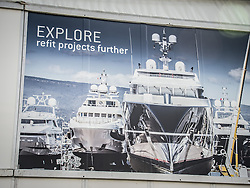 September 24, 2016 - Monaco, Monaco - Signage for the 26th Monaco Yacht Show with some 125 of the most desirable superyachts from around the world on display between 28 September and 1 October. The Monaco Yacht Show is held in Port Hercules, and is Europe's biggest in-water display of superyachts. (Credit Image: © Hugh Peterswald/Pacific Press via ZUMA Wire)