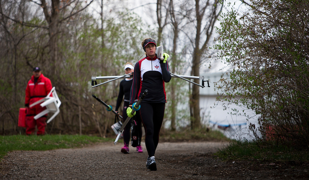 Caileigh Filmer (stroke) Jennifer Martins (bow) spares for the 2016 Canadian Olympic Rowing Team in the women's eight train at Lake Fanshawe in London, Ontario Canada on April 25th, 2016