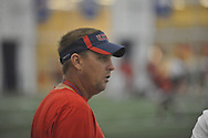 Hugh Freeze attends Ole Miss football practice at the Manning Center, in Oxford, Miss. on Monday, August 18, 2014.
