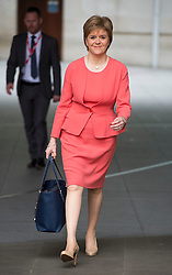 © Licensed to London News Pictures. 14/07/2015. London, UK. Leader of the SNP and  First Minister of Scotland, NICOLA STURGEON leaving BBC Broadcast House in London after appearing on the Today programme on Radio 4. Photo credit: Ben Cawthra/LNP