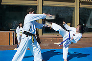 4/24/15 – Medford/Somerville, MA – Members of the Tufts Tae Kwon Do Club practice outside the campus center  on Friday, Apr. 24, 2015. (Sofie Hecht / The Tufts Daily