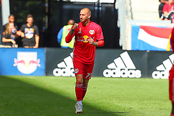 September 30, 2018 - Harrison, NJ, U.S. - HARRISON, NJ - SEPTEMBER 30:   New York Red Bulls midfielder Daniel Royer (77) after he scored  during the first half of  the Major League Soccer game between the New York Red Bulls and Atlanta United on September 30, 2018 at Red Bull Arena in Harrison, NJ.  (Photo by Rich Graessle/Icon Sportswire) (Credit Image: © Rich Graessle/Icon SMI via ZUMA Press)