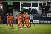Goal!…Luton Town forward James Collins (19) scores from the penalty spot and celebrates with his team mates during the EFL Sky Bet League 1 match between Luton Town and Burton Albion at Kenilworth Road, Luton, England on 22 December 2018.