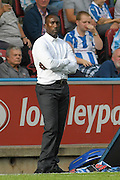 Queens Park Rangers manager Jimmy Floyd Hasselbaink during the EFL Sky Bet Championship match between Huddersfield Town and Queens Park Rangers at the John Smiths Stadium, Huddersfield, England on 17 September 2016. Photo by Ian Lyall.
