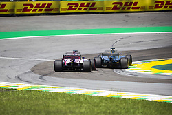 November 12, 2017 - Sao Paulo, Sao Paulo, Brazil - Nov, 2017 - Sao Paulo, Sao Paulo, Brazil - Overtaking of English LEWIS HAMILTON during the Brazilian Grand Prix of Formula One in the autodromo track of Interlagos in Sao Paulo. (Credit Image: © Marcelo Chello via ZUMA Wire)