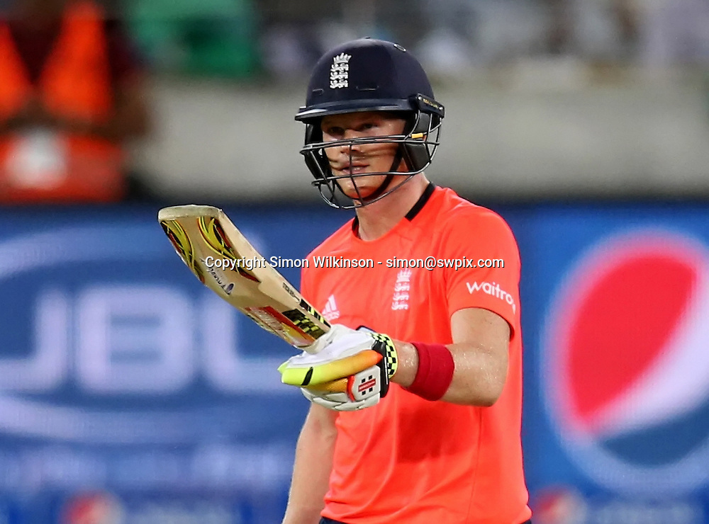 PICTURE BY MARK GREEN/SWPIX.COM  Pakistan v England 1st T20, Dubai Internayional Stadium, UAE, 26/11/15 <br /> England's Sam Billings celebrates his half century