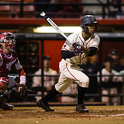 24 February 2018: The San Diego State Aztec baseball team competes in day two of the Tony Gwynn legacy tournament against #4 Arkansas. San Diego State Aztecs outfielder Denz'L Chapman (32) leads off the bottom of the third inning with a triple. The Aztecs dropped a close game to the Razorbacks 4-2. <br /> More game action at sdsuaztecphotos.com