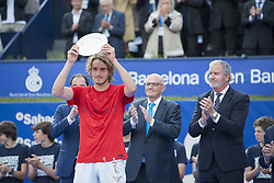 April 29, 2018 - Barcelona, Barcelona, Spain - STEFANOS TSITSIPAS receives the trophy for second place at the Barcelona Open Banc Sabadell 2018. RAFAEL NADAL won the final 6-2 6-1 against STEFANOS TSITSIPAS. (Credit Image: © Patricia Rodrigues/via ZUMA Wire via ZUMA Wire)