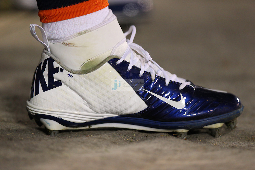 A detail of a shoe of the Denver Broncos against the Oakland Raiders during an NFL game on Sunday, December 6, 2012 at the Oakland Coliseum in Oakland, Ca.  (photo by Jed Jacobsohn)