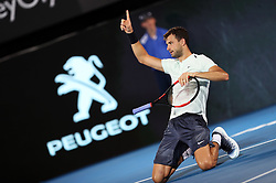 SYDNEY, Jan. 8, 2018  Grigor Dimitrov of Bulgaria reacts during the FAST4 of Sydney International against Lleyton Hewitt of Australia in Sydney, Australia, on Jan. 8, 2018. Dimitrov won 2-0. (Credit Image: © Bai Xuefei/Xinhua via ZUMA Wire)