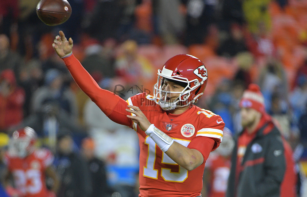 Dec 13, 2018; Kansas City, MO, USA; Kansas City Chiefs quarterback Patrick Mahomes (15) warms up before the game against the Los Angeles Chargers at Arrowhead Stadium. Mandatory Credit: Denny Medley-USA TODAY Sports