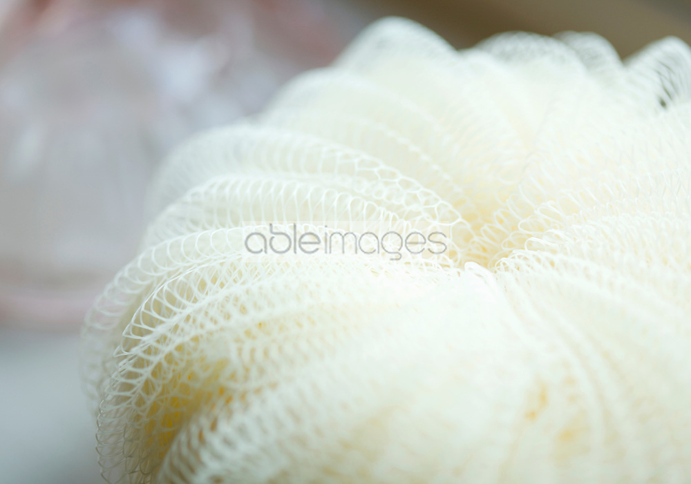 Extreme close up of an exfoliating puff sponge