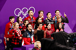 February 12, 2018 - Gangneung, South Korea - Tessa Virtue and Scott Moir of Canada with their score with their teammates during the Team Event Ice Dance Free Dance at the PyeongChang 2018 Winter Olympic Games at Gangneung Ice Arena on Monday February 12, 2018. (Credit Image: © Paul Kitagaki Jr. via ZUMA Wire)