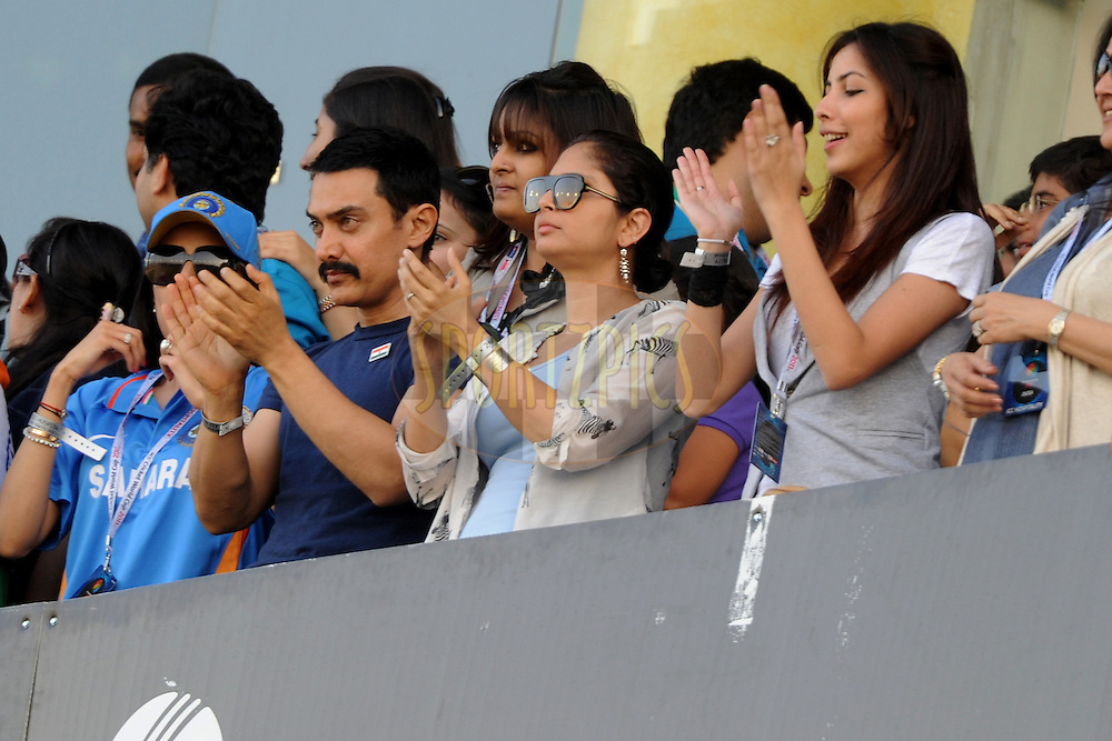 Bollywood actor Aamir Khan during the ICC Cricket World Cup semi final match between India and Pakistan South Africa held at the Mohali Cricket Stadium in Mohali on the 30 March 2011..Photo by Pal Pillai/BCCI/SPORTZPICS