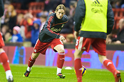 LIVERPOOL, ENGLAND - Saturday, December 26, 2009: Liverpool's Fernando Torres warms up before the Premiership match against Wolverhampton Wanderers at Anfield. (Photo by: David Rawcliffe/Propaganda)