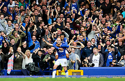 Everton's Steven Naismith celebrates after scoring his hat-trick, 3-1  - Mandatory byline: Matt McNulty/JMP - 07966386802 - 12/09/2015 - FOOTBALL - Goodison Park -Everton,England - Everton v Chelsea - Barclays Premier League