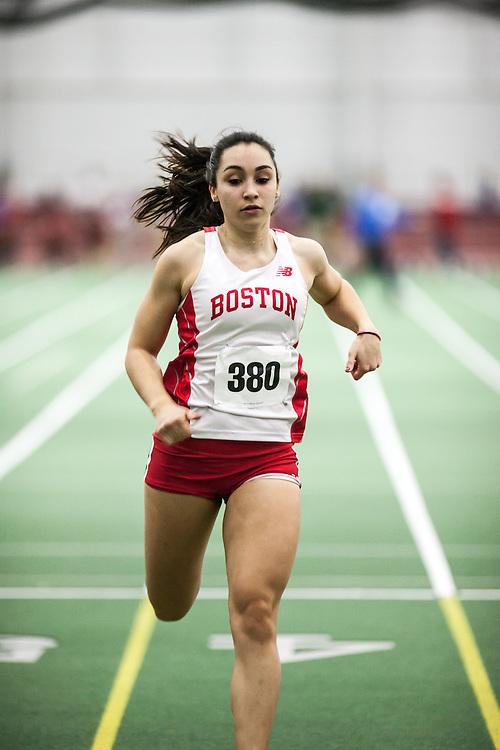 Boston University Multi-team indoor track & field, women 60 meter prelim, BU, 380