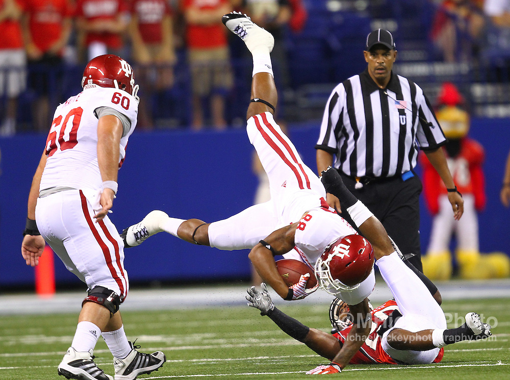 Sept. 03, 2011; Indianapolis, IN, USA; Indiana Hoosiers wide receiver Damarlo Belcher (88) goes up and over after a reception as Ball State Cardinals safety Joshua Howard (20) defends at Lucas Oil Stadium.<br /> Mandatory credit: Michael Hickey-US PRESSWIRE