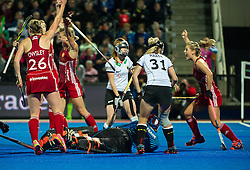 England celebrate scoring a goal. England celebrate a goal. England v Germany - Unibet EuroHockey Championships, Lee Valley Hockey & Tennis Centre, London, UK on 26 August 2015. Photo: Simon Parker