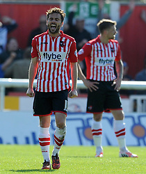 Dejection for Exeter City's Aaron Davies as Southend United's Michael Timlin scores.- Photo mandatory by-line: Harry Trump/JMP - Mobile: 07966 386802 - 18/04/15 - SPORT - FOOTBALL - Sky Bet League Two - Exeter City v Southend United - St James Park, Exeter, England.