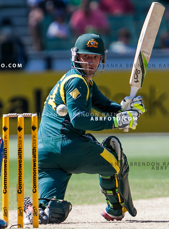 Phil Hughes batting during game 1 of the Commonwealth Bank Series Australia v Sri Lanka played at the Melbourne Cricket Ground in Melbourne,Victoria, Australia. Photo Asanka Brendon Ratnayake