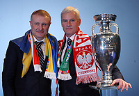 Photo: Rich Eaton.<br /> <br /> UEFA European Championships 2012 Press Conference. 18/04/2007. Michal Listkiewicz right, President of Polish FA and Grygoriy Surkis President of Ukraine FA pose with the trophy after they are announced as host nations