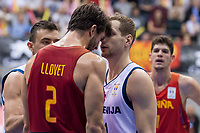 Spain Nacho Llovet and Slovenia Jaka Blazic during FIBA European Qualifiers to World Cup 2019 between Spain and Slovenia at Coliseum Burgos in Madrid, Spain. November 26, 2017. (ALTERPHOTOS/Borja B.Hojas)