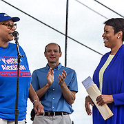 WASHINGTON, DC -JUNE4:  Council member Yvette Alexander (D-Ward 7) and Mayor Muriel Bowser at a community day in the Parkside neighborhood, June 4, 2016. Alexander is in the fight for her political life as her one time mentor and former Mayor Vincent Gray mounts a comeback, assailing her for poor constituent services, failure to respond to rising crime in the ward and bungling oversight of St. Elizabeths hospital and DC trust. (Photo by Evelyn Hockstein/For The Washington Post)