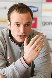 Uros Zorman during press conference of Slovenia Men Handball team 1st day of 10th EHF European Handball Championship Serbia 2012, on January 15, 2012 in Hotel Srbija, Vrsac, Serbia.  (Photo By Vid Ponikvar / Sportida.com)