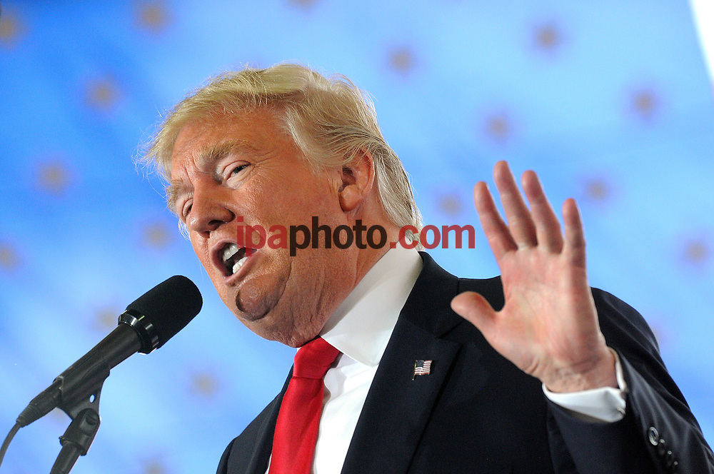 OCALA, FL - OCTOBER 12: Republican presidential nominee Donald Trump speaks during a rally at Southeastern Livestock Pavillion on October 12, 2016 in Ocala, Florida. Trump made multiple campaign stops in Florida today, a key battleground state in the upcoming election. (Photo by Gerardo Mora/ IPAHOTO.COM)<br /> <br /> FOR EDITORIAL USE ONLY// PARA USO EDITORIAL SOLAMENTE<br /> <br /> NOT FOR COMMERCIAL USE<br /> NO PARA USO COMERCIAL