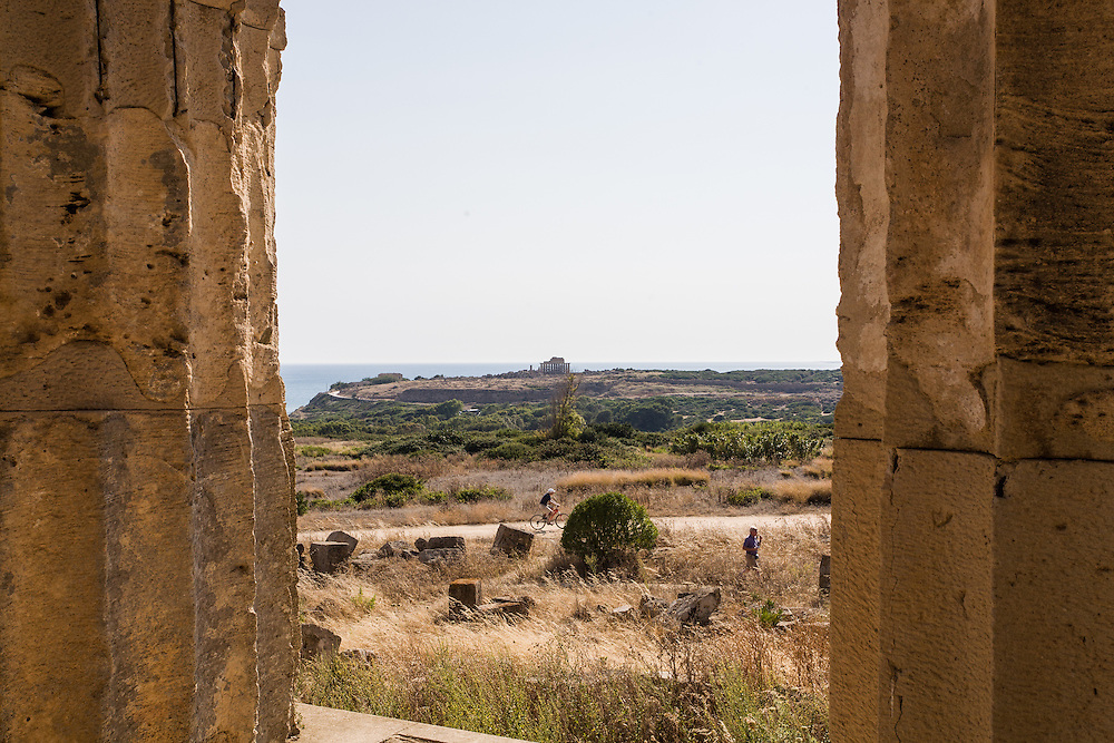 Photograph of a Greek temple in the distance at Selinunte, Sicily, Italy