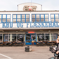 Kødbyens Fiskebar is a cool industrial-style restaurant in the former meat market serving simple, fresh seafood dishes in the Meatpacking District of the Vesterbro neighborhood of Copenhagen, Denmark.