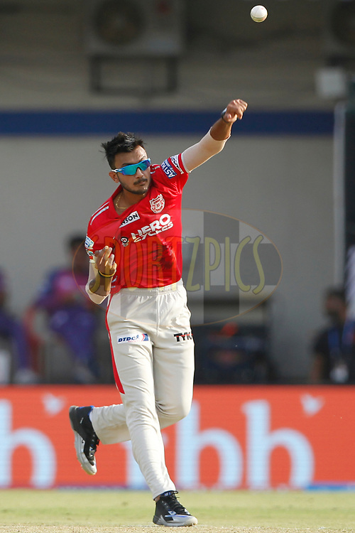 Akshar Patel of Kings XI Punjab bowls a delivery during match 4 of the Vivo 2017 Indian Premier League between the Kings X1 Punjab and the rising Pune Supergiant held at the Holkar Cricket Stadium in Indore, India on the 8th April 2017<br /> <br /> Photo by Deepak Malik - IPL - Sportzpics