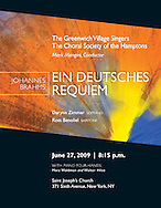 Program cover for a performance of Brahms Ein Deutsches Requiem, by The Greenwich Village Singers and The Choral Society of the Hamptons.