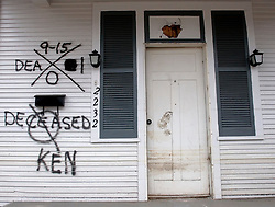 10th December, 2005. New Orleans, Louisiana. Hurricane Katrina aftermath. <br /> Deceased. The front porch of a house in Gentilly where sadly a victim of the storm perished.<br /> Photo; &copy;Charlie Varley/varleypix.com